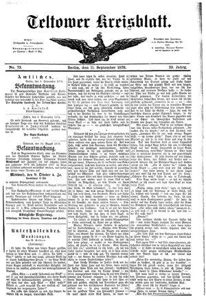 Teltower Kreisblatt vom 11.09.1878
