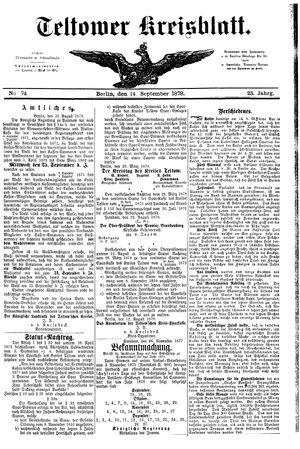 Teltower Kreisblatt vom 14.09.1878