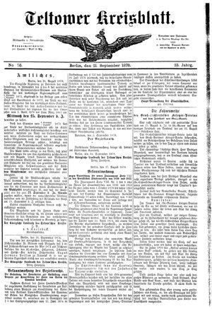 Teltower Kreisblatt vom 21.09.1878