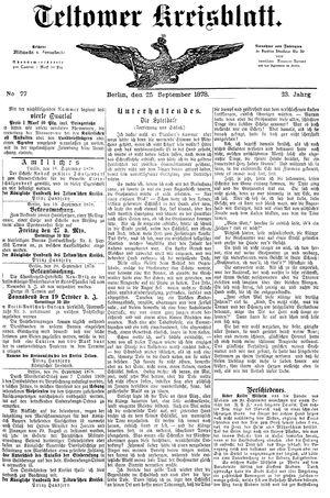 Teltower Kreisblatt vom 25.09.1878
