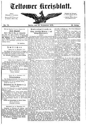 Teltower Kreisblatt vom 28.09.1878