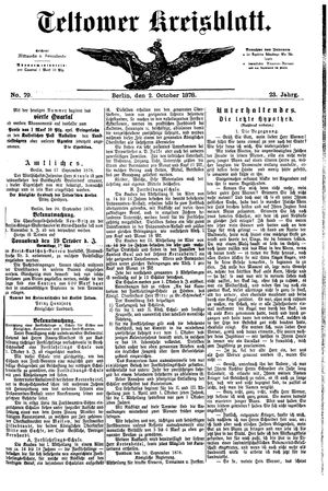 Teltower Kreisblatt vom 02.10.1878