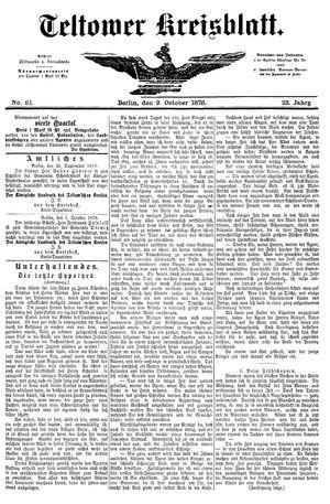 Teltower Kreisblatt vom 09.10.1878