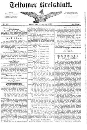 Teltower Kreisblatt on Oct 12, 1878
