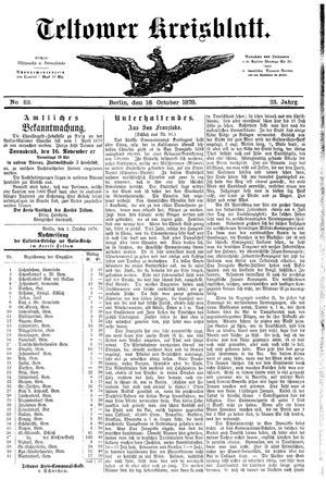 Teltower Kreisblatt vom 16.10.1878