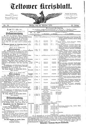Teltower Kreisblatt vom 23.10.1878