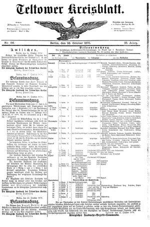Teltower Kreisblatt vom 26.10.1878