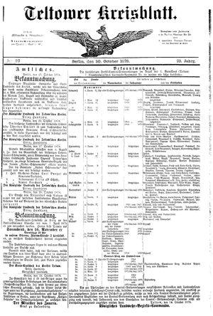 Teltower Kreisblatt vom 30.10.1878