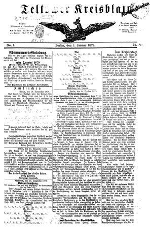 Teltower Kreisblatt vom 01.01.1879