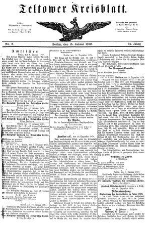 Teltower Kreisblatt vom 15.01.1879
