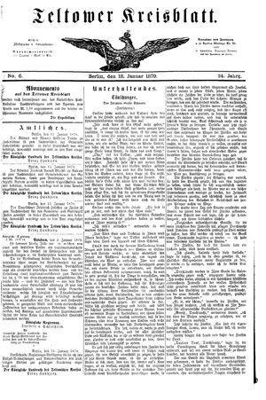Teltower Kreisblatt vom 18.01.1879