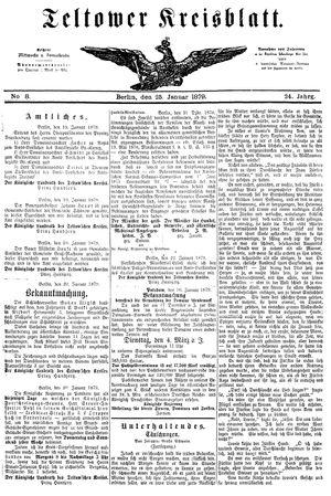 Teltower Kreisblatt vom 25.01.1879