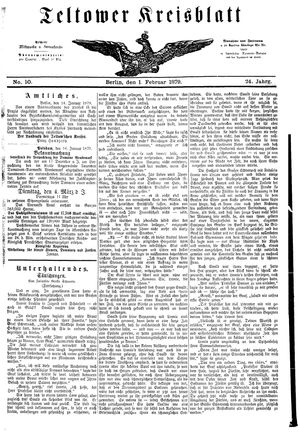 Teltower Kreisblatt vom 01.02.1879
