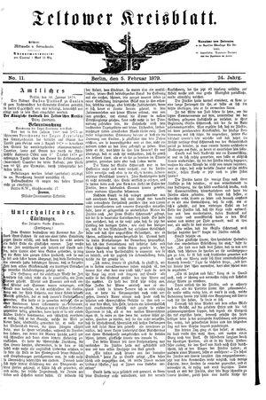 Teltower Kreisblatt vom 05.02.1879