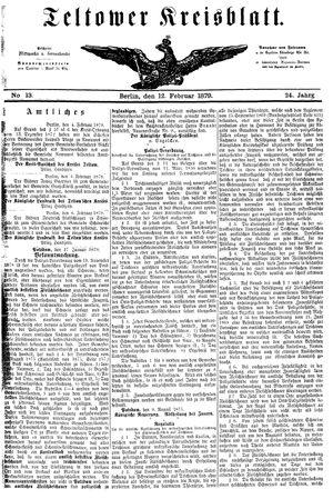 Teltower Kreisblatt vom 12.02.1879