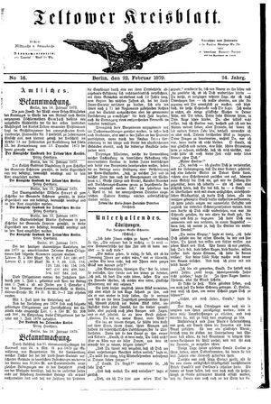Teltower Kreisblatt vom 22.02.1879