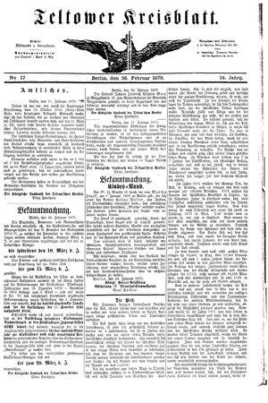 Teltower Kreisblatt vom 26.02.1879