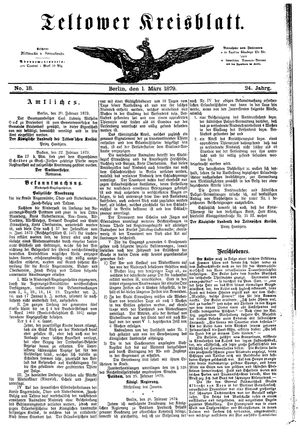 Teltower Kreisblatt on Mar 1, 1879
