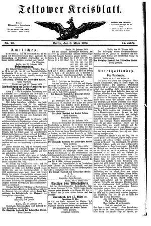 Teltower Kreisblatt vom 08.03.1879