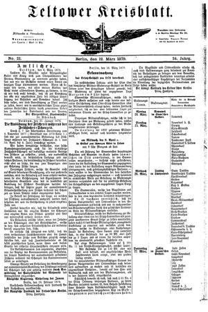 Teltower Kreisblatt vom 12.03.1879