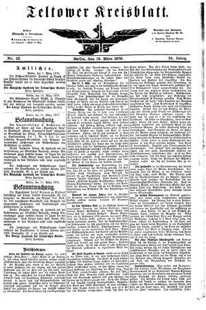 Teltower Kreisblatt vom 15.03.1879