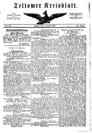 Teltower Kreisblatt on Apr 2, 1879
