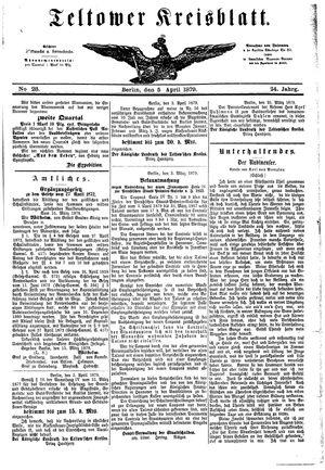 Teltower Kreisblatt vom 05.04.1879