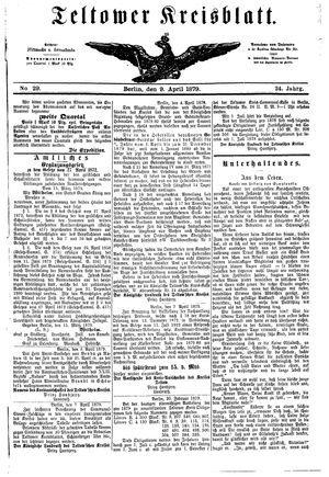 Teltower Kreisblatt vom 09.04.1879