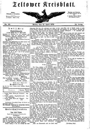 Teltower Kreisblatt vom 12.04.1879