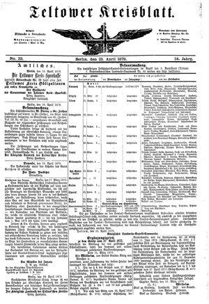 Teltower Kreisblatt vom 23.04.1879