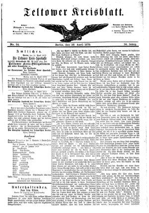 Teltower Kreisblatt vom 26.04.1879