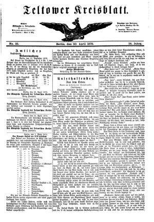 Teltower Kreisblatt vom 30.04.1879