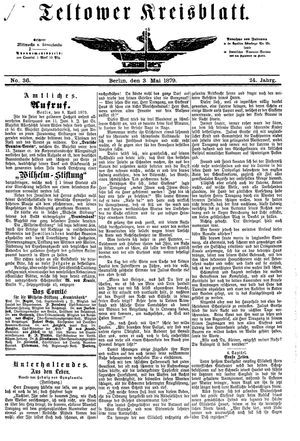 Teltower Kreisblatt vom 03.05.1879