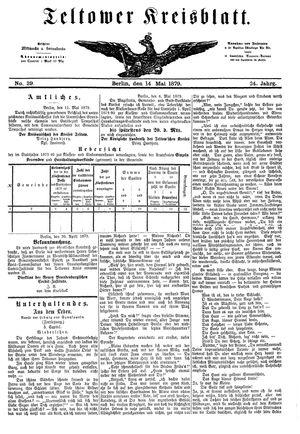 Teltower Kreisblatt vom 14.05.1879