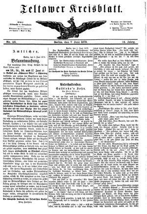 Teltower Kreisblatt vom 07.06.1879