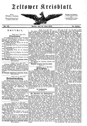 Teltower Kreisblatt vom 14.06.1879