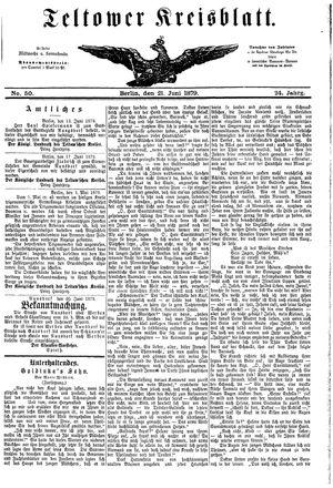 Teltower Kreisblatt on Jun 21, 1879