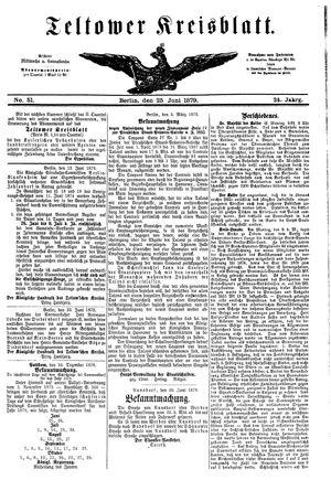 Teltower Kreisblatt vom 25.06.1879