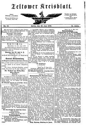 Teltower Kreisblatt vom 28.06.1879