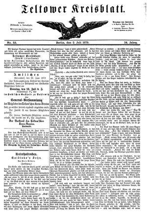 Teltower Kreisblatt vom 02.07.1879