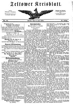 Teltower Kreisblatt vom 05.07.1879