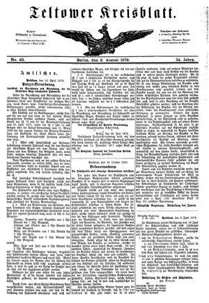 Teltower Kreisblatt on Aug 6, 1879