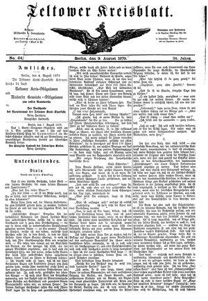 Teltower Kreisblatt vom 09.08.1879