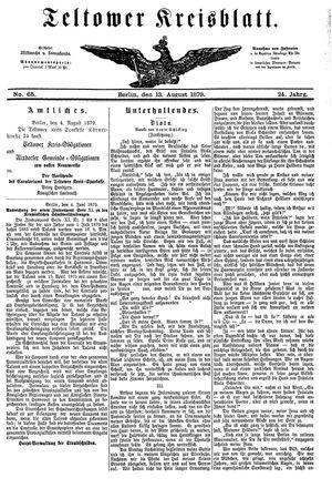 Teltower Kreisblatt vom 13.08.1879