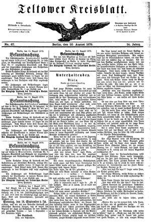 Teltower Kreisblatt vom 20.08.1879