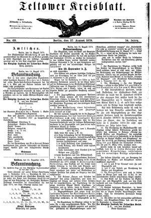 Teltower Kreisblatt vom 27.08.1879