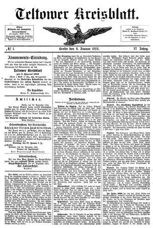 Teltower Kreisblatt vom 04.01.1882