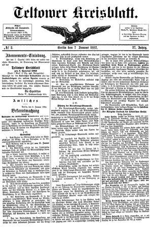 Teltower Kreisblatt on Jan 7, 1882