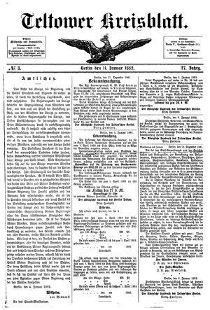 Teltower Kreisblatt vom 11.01.1882