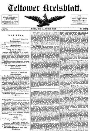 Teltower Kreisblatt vom 15.02.1882